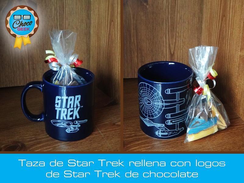 Taza de #StarTrek rellena con logos de Star Trek de chocolate #ChocoGeek
