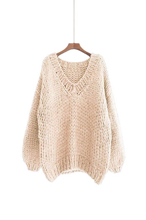 Hand knit oversize woman sweater V-neck slouchy wool oats cream ...