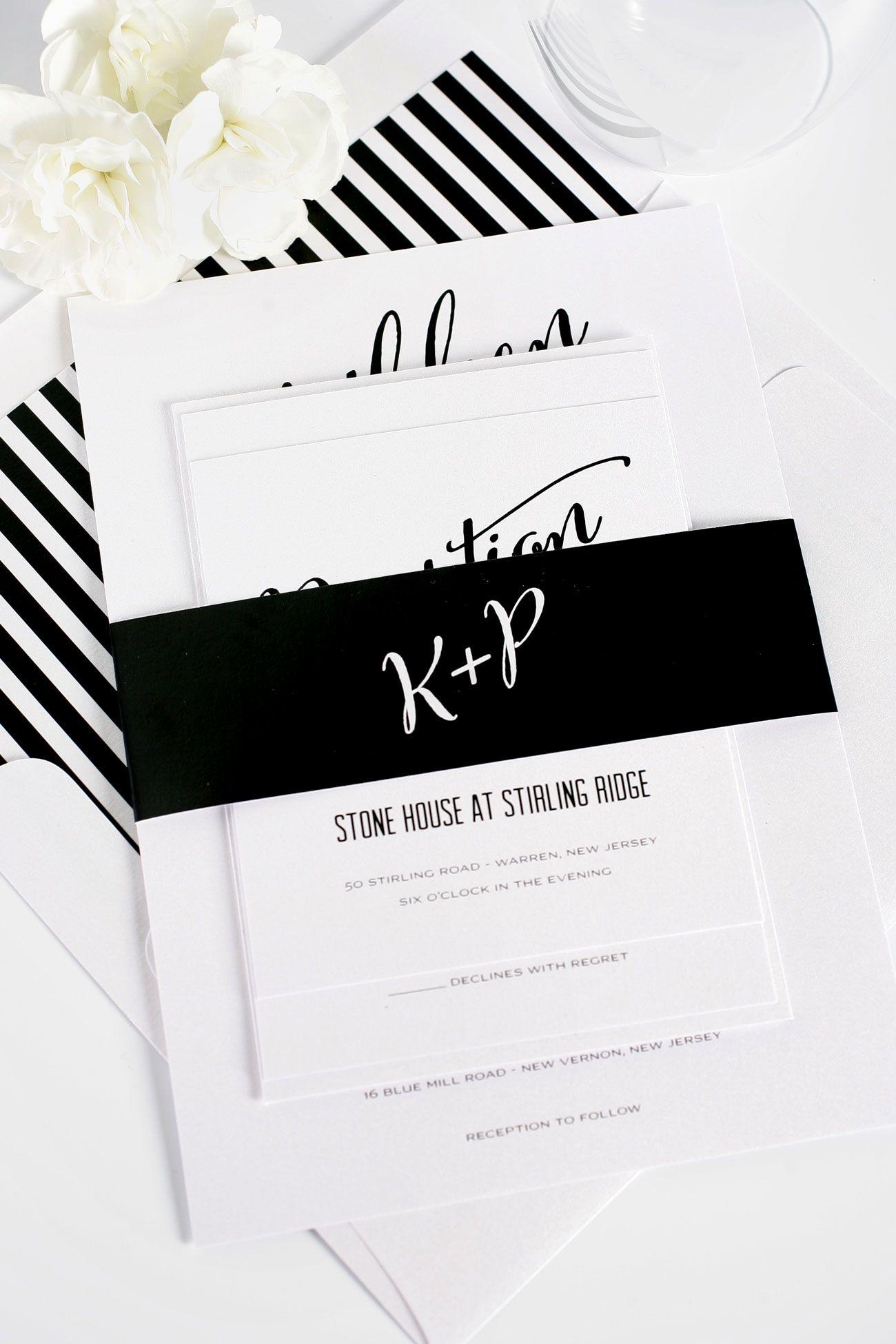 Modern Calligraphy Wedding Invitations in Black and White | Shine ...