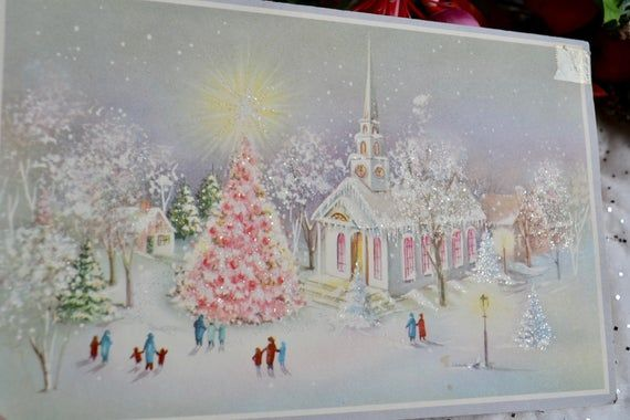 Vintage Christmas Card - Glowing Pink Glitter Tree and Church - Used #churchitems