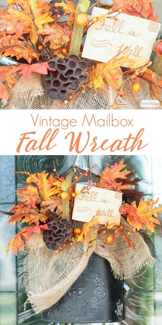 Etonnant Fall Door Decor In A Vintage Mailbox