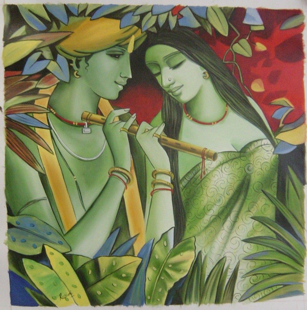 RARE BEAUTIFUL OIL PAINTINGS | Radha Krishna Oil Painting Handmade ...