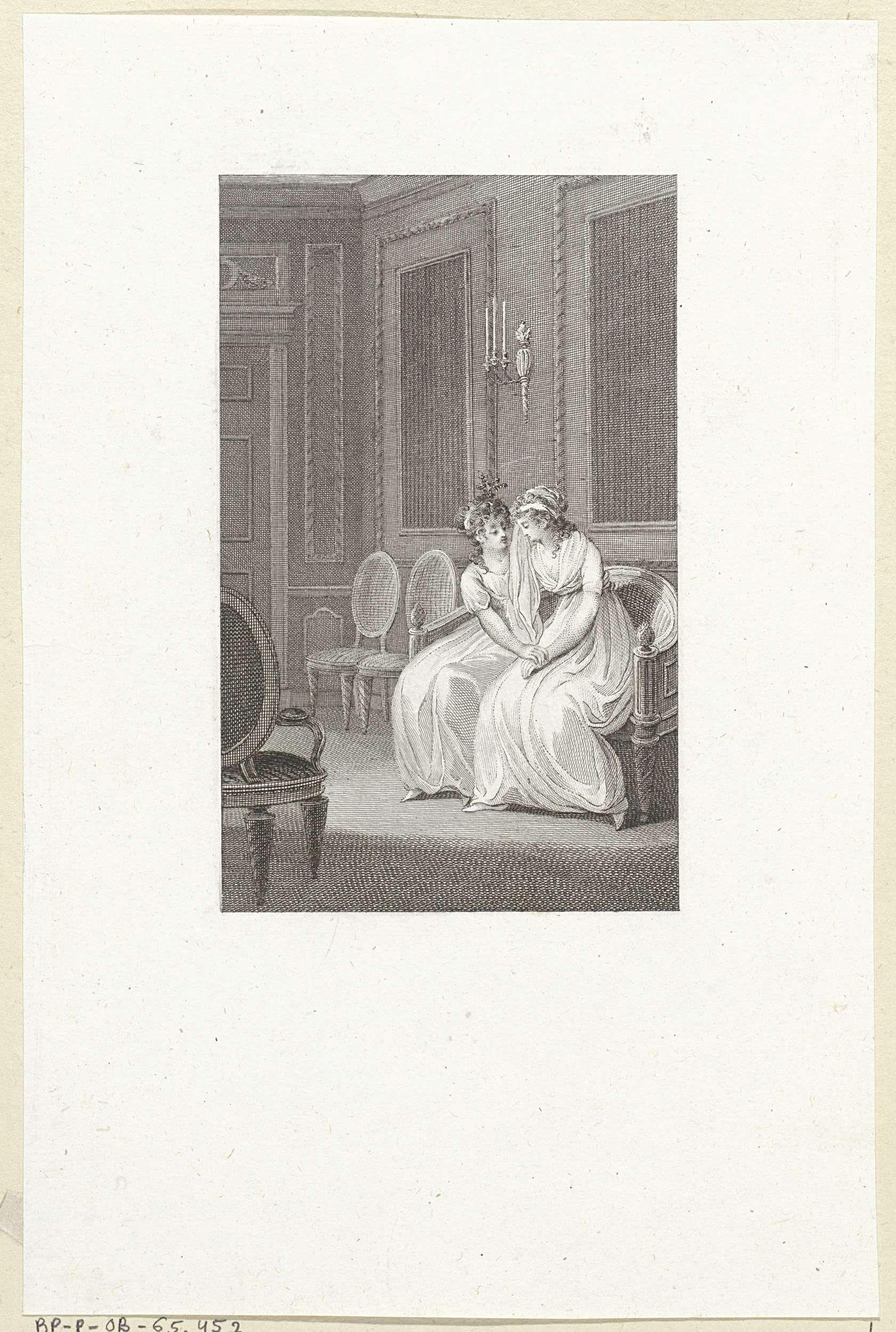 Reinier Vinkeles | Jonge vrouw troost haar huilende vriendin, Reinier Vinkeles, 1751 - 1816 |