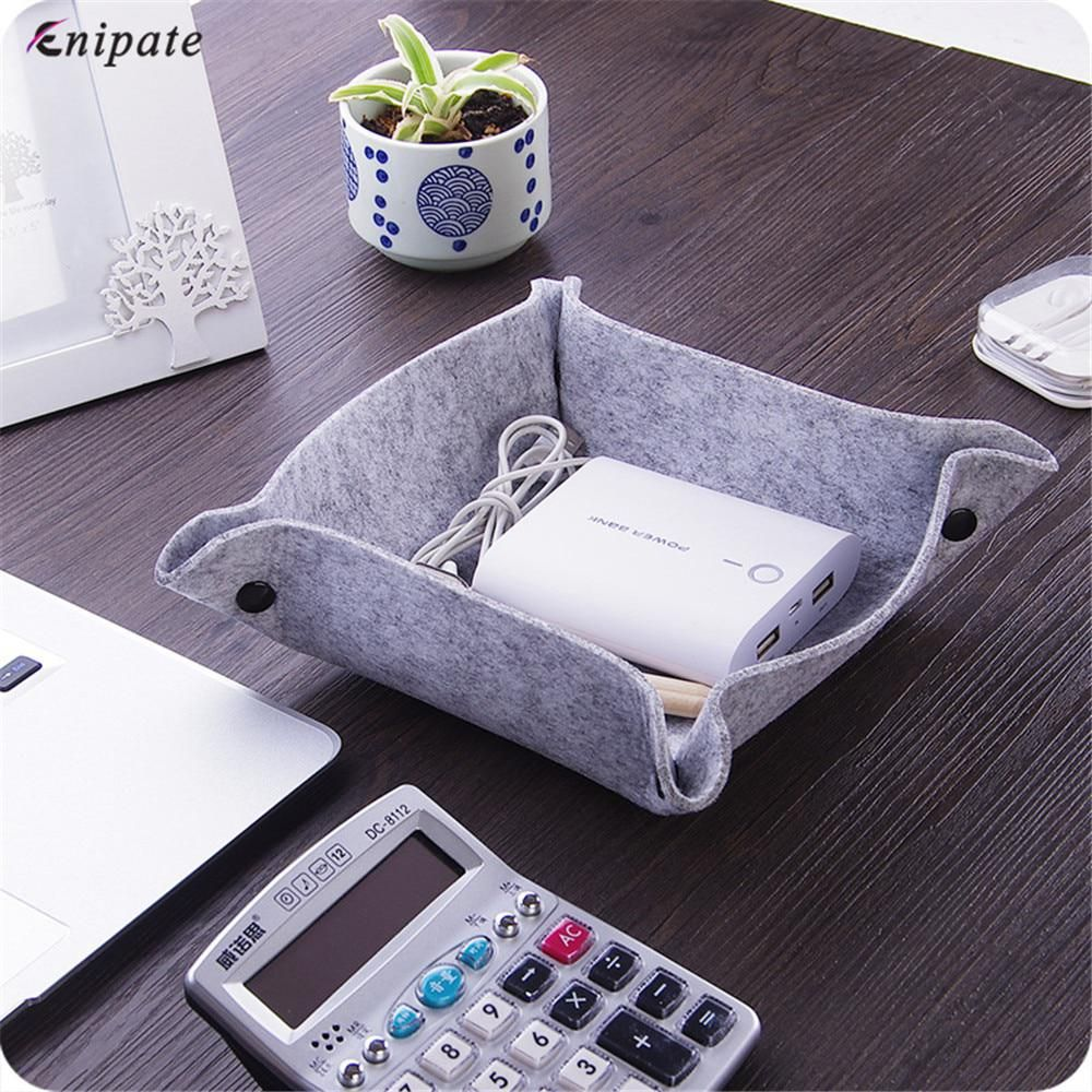 Enipate Felt Foldable Storage Trays For Dice Table Key Wallet Coin Box Tray Square Placemat Desktop Decorative