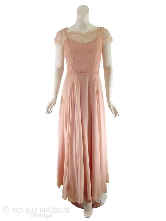 30s Evening Gown of Peach Chiffon and Lace - sm   Vintage Style ...