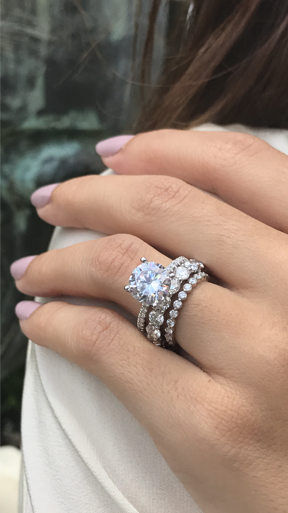 Solitaire Engagement Ring Solitaire Engagement Ring Round 3ct Engagement Ring Eternity Band Stacked Wedding Rings 3ct Engagement Ring Engagement Rings Round
