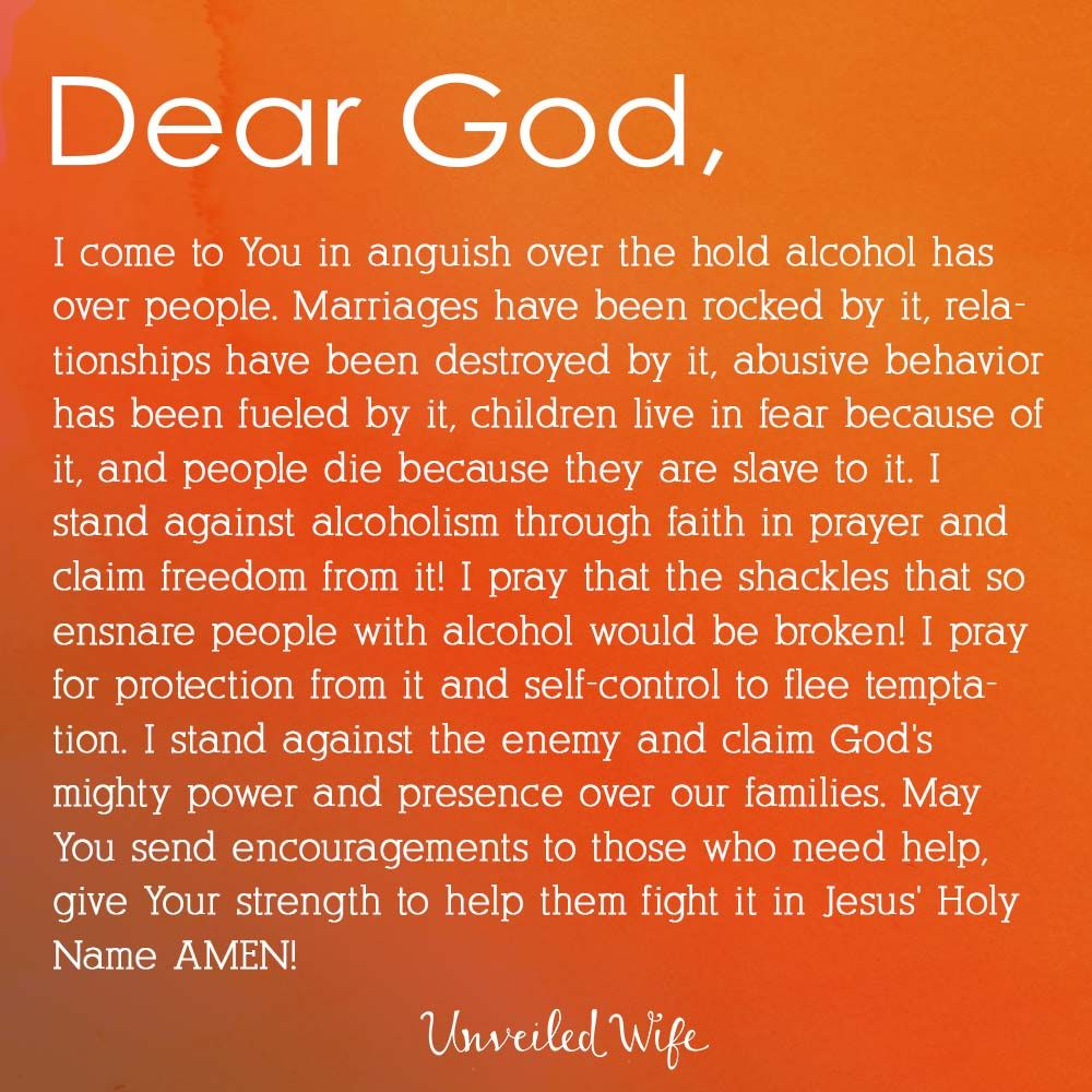 Prayer from drunkenness. Who to contact her