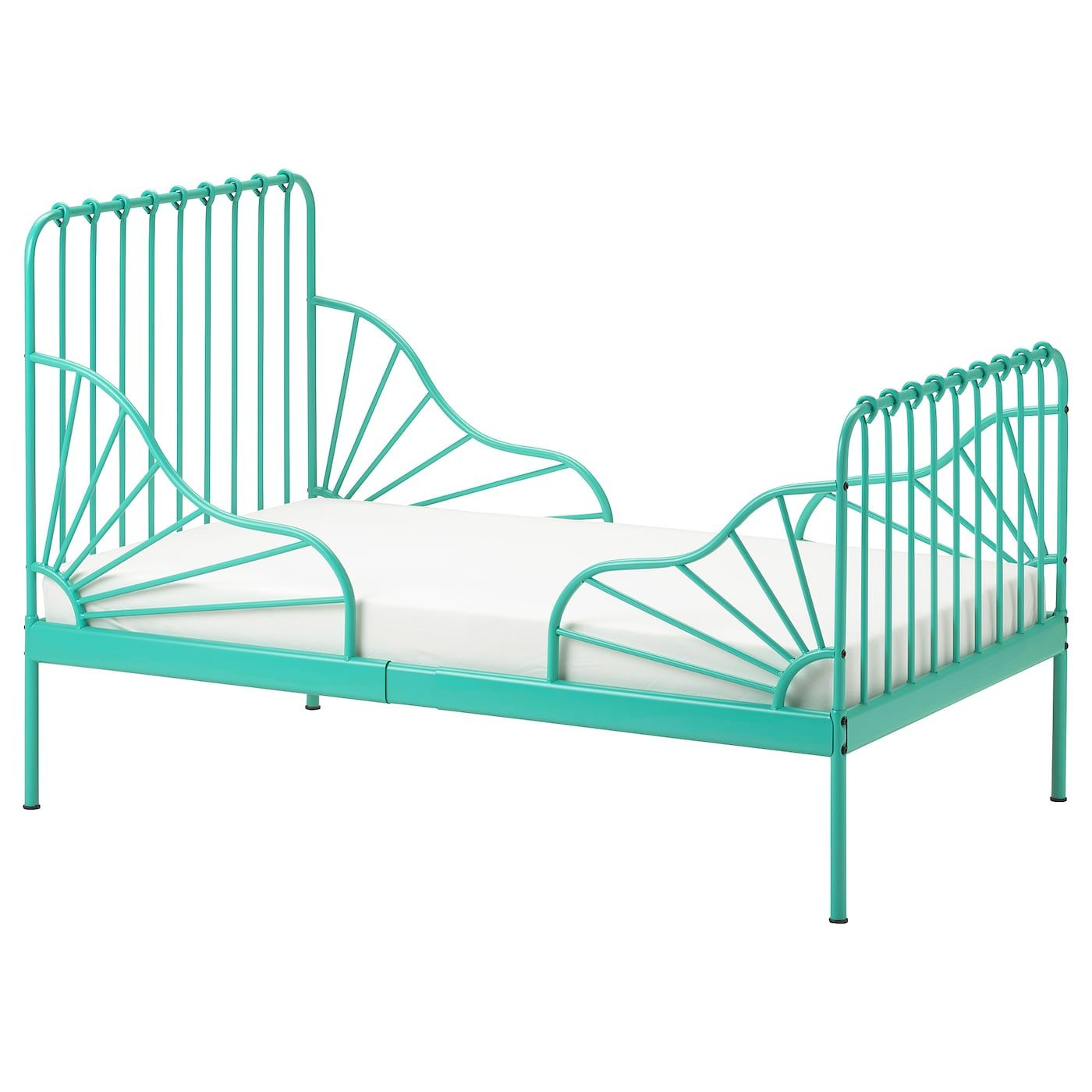 MINNEN Ext bed frame with slatted bed base turquoise 38