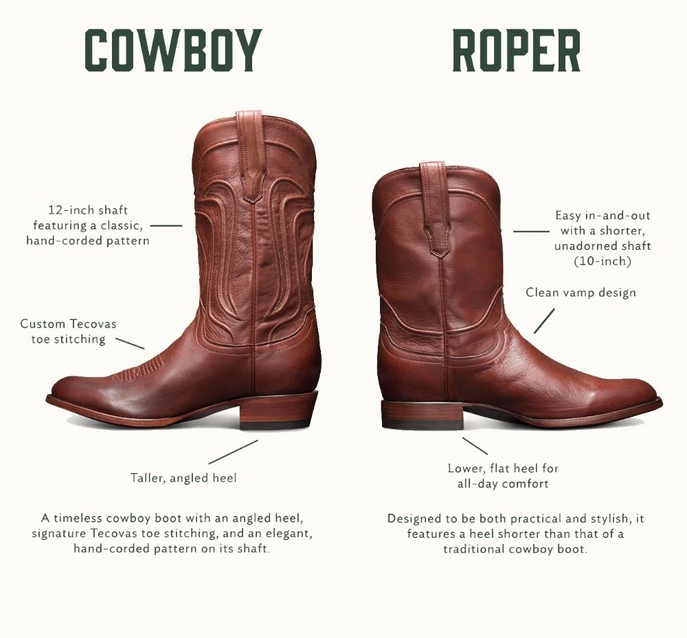 Men's Roper Boots - Handmade Calfskin