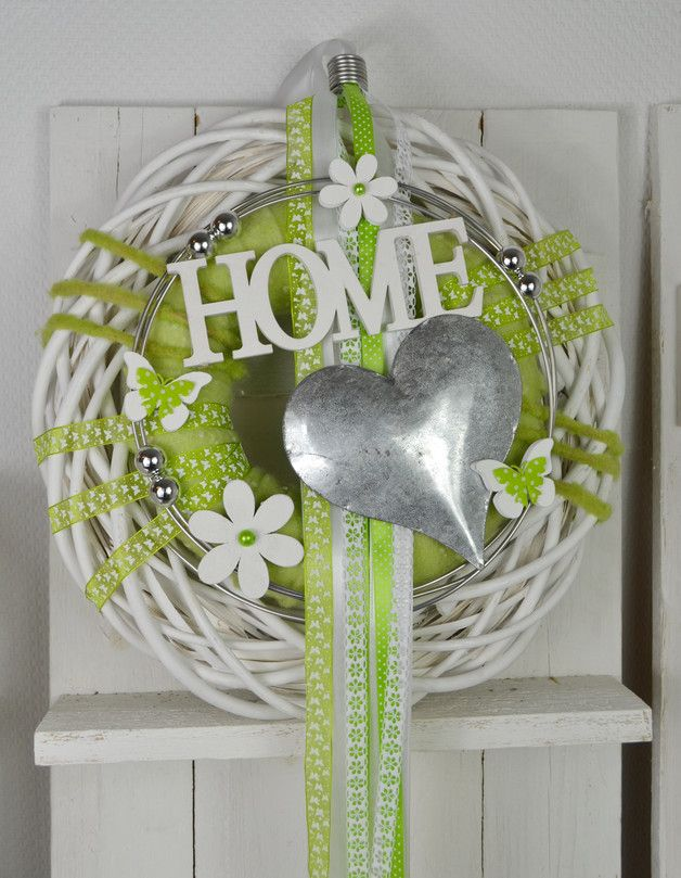 Photo of Beautiful double door wreath / wall wreath in green / white The wreath can be used as …
