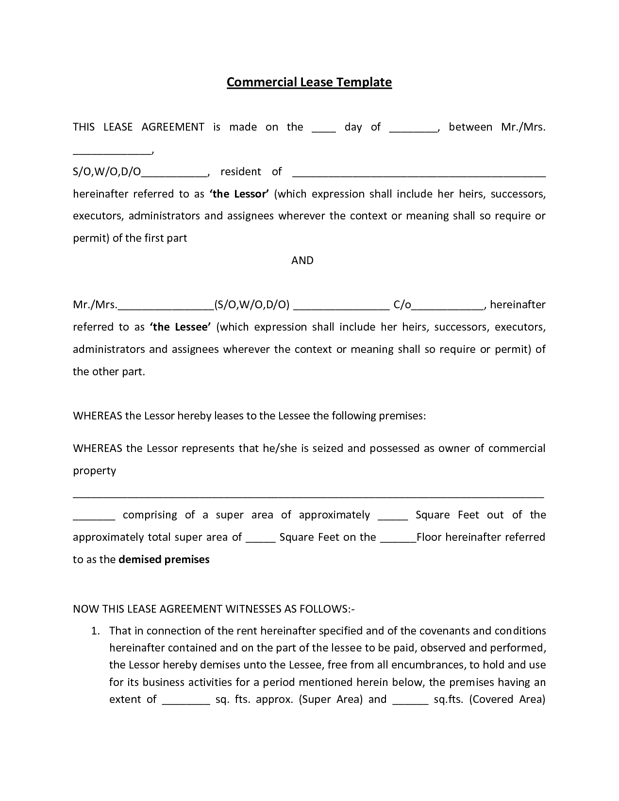Commercial Rent Agreement Commercial Lease Agreement