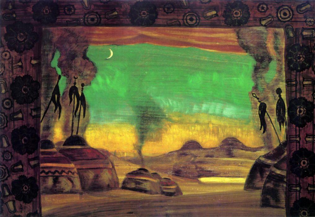 'Polovtsian camp', 1919 by Nicholas Roerich (1874-1947, Russia)
