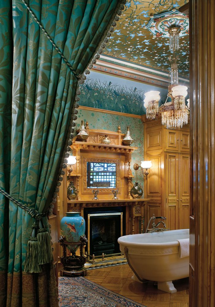 gorgeous wallpaper ceilingand a fireplace in the bathroommy dream magnificent obsession interactive feature t magazine