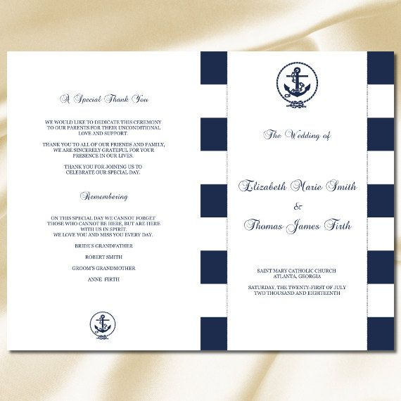 Wedding Program Booklet Template, Nautical Navy Blue Striped Anchor ...