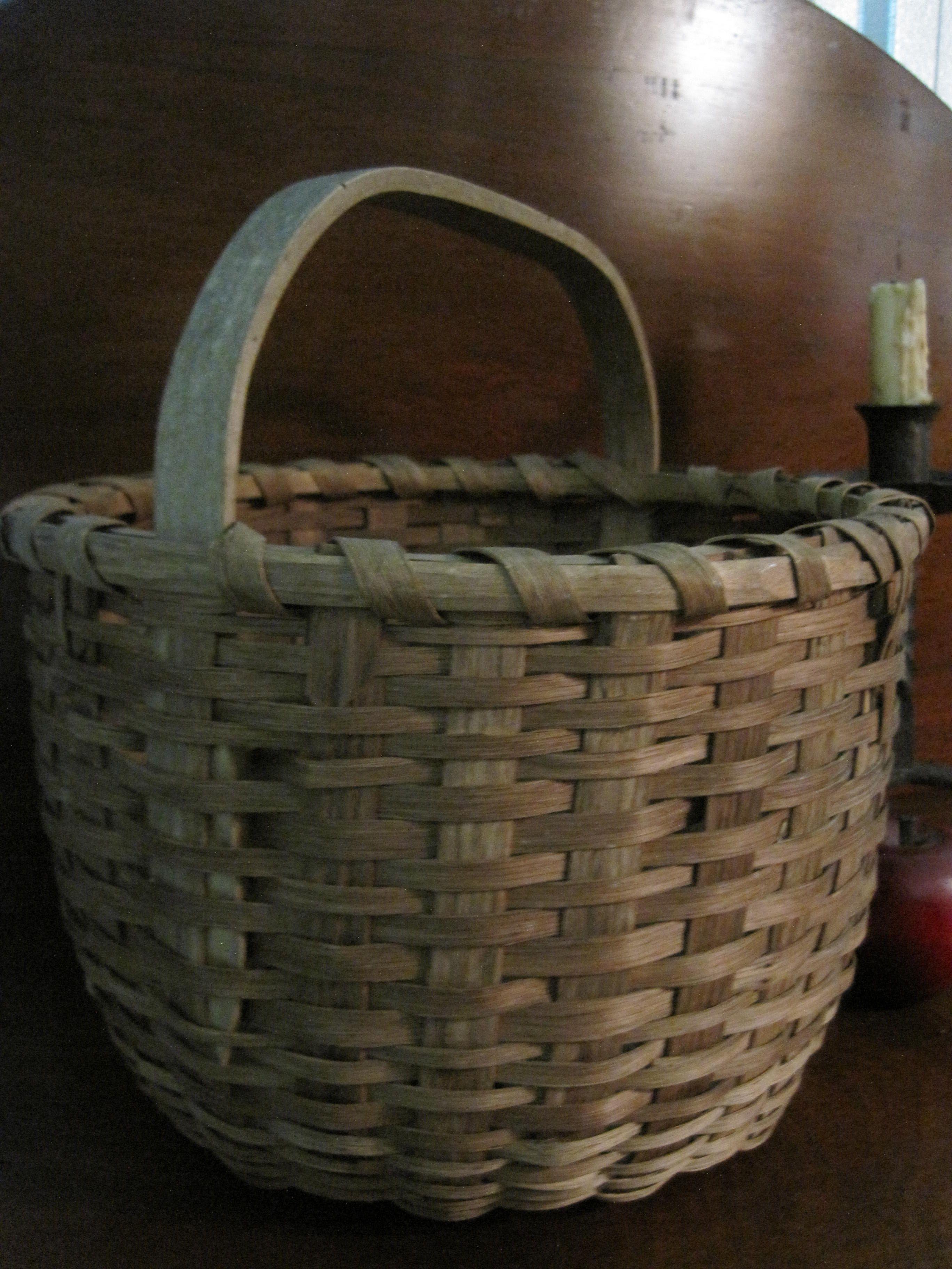 Basket Weaving Handles : Antique s new england quot black ash woven splint
