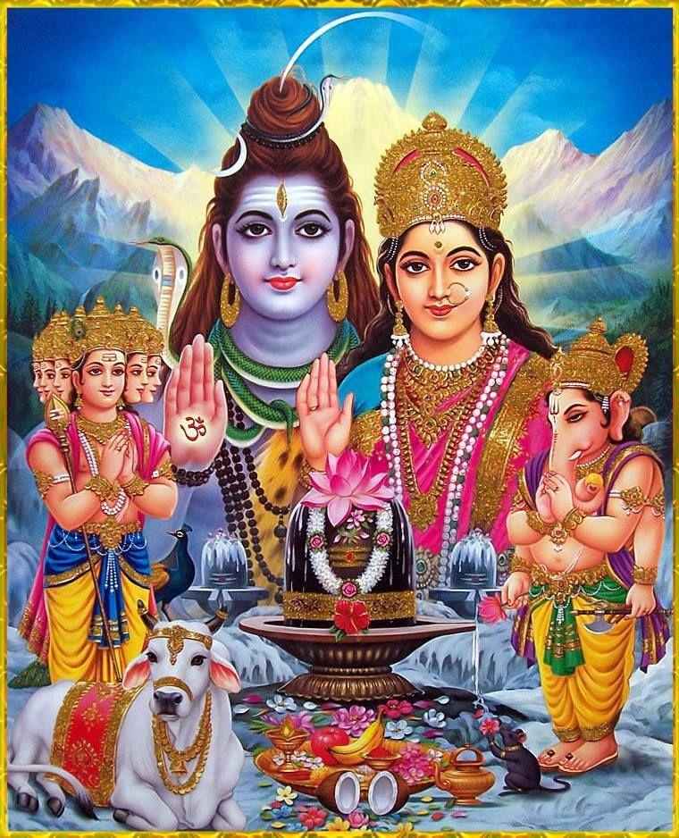 Parvati Mata With God Shiva ji and sons Ganesha and ...