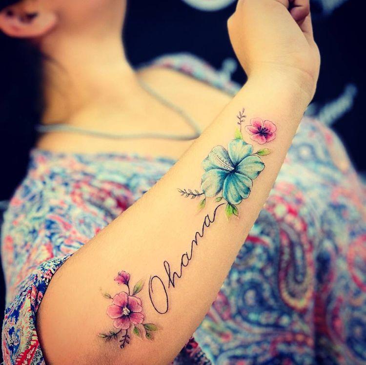 40 Ideen für Ohana Tattoo: Das Symbol für Familie und Freundschaft #unterarm #tattooideas #unterarmtattoo #disney #stitch #freundschaftstattoo #lilostitch #googlehomemini