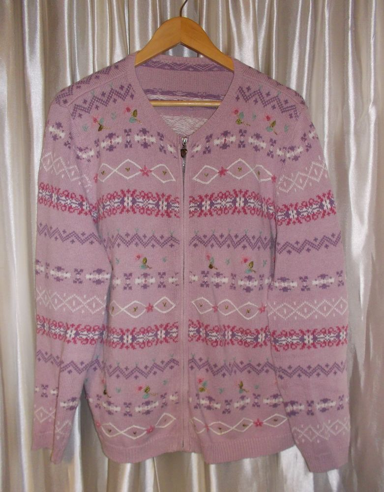 "Lavender embroidered ""Fair Isle"" cardigan sweater zipper XL Extra ..."