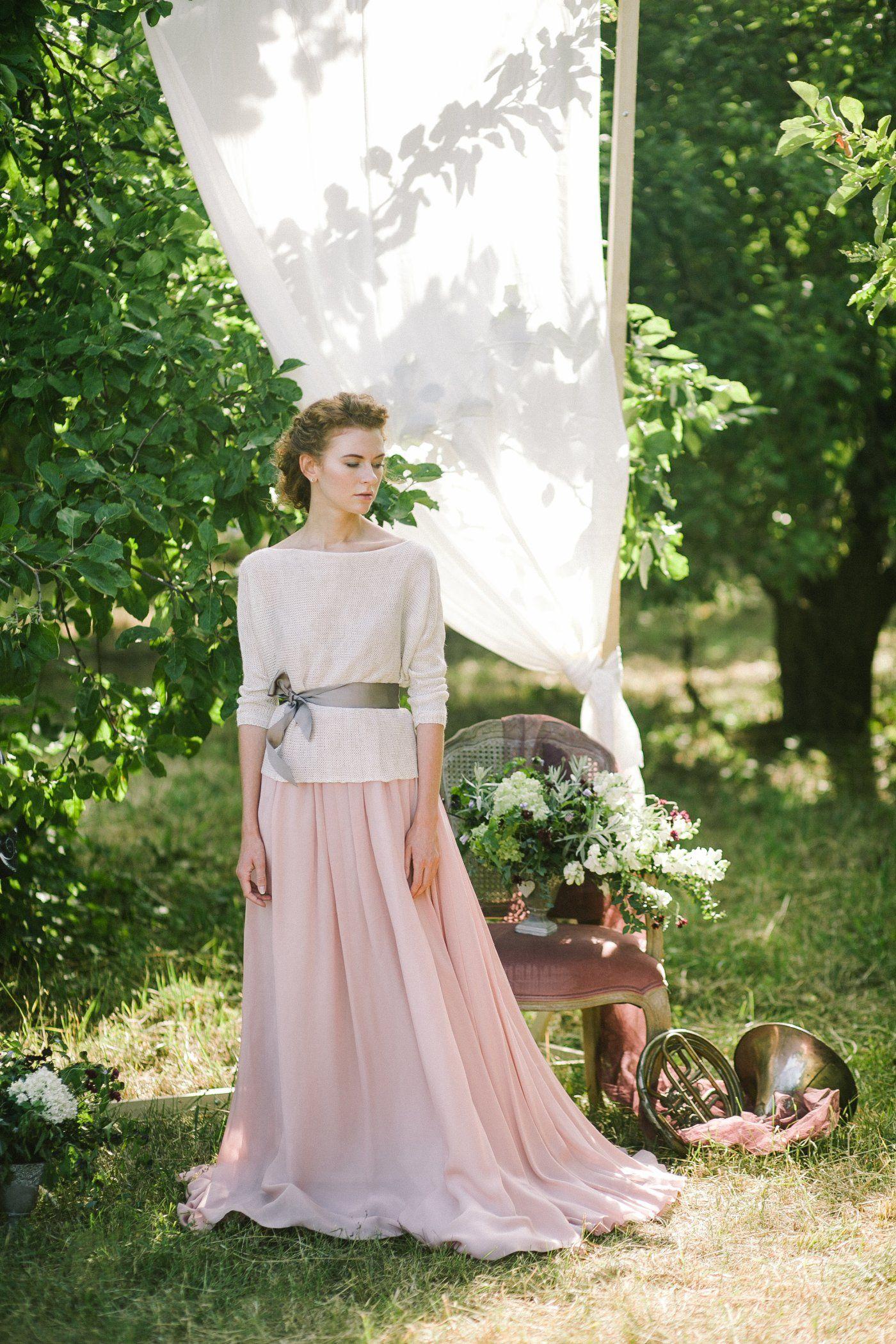 Light pink spaghetti strap wedding dress with lace