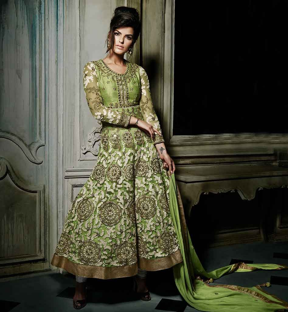 Cool DESIGNER WEDDING ANARKALI DRESSES ONLINE SHOPPING GREEN ANARKALI DRESS TO WEAR AT THE WEDDINGS WITH HEAVY