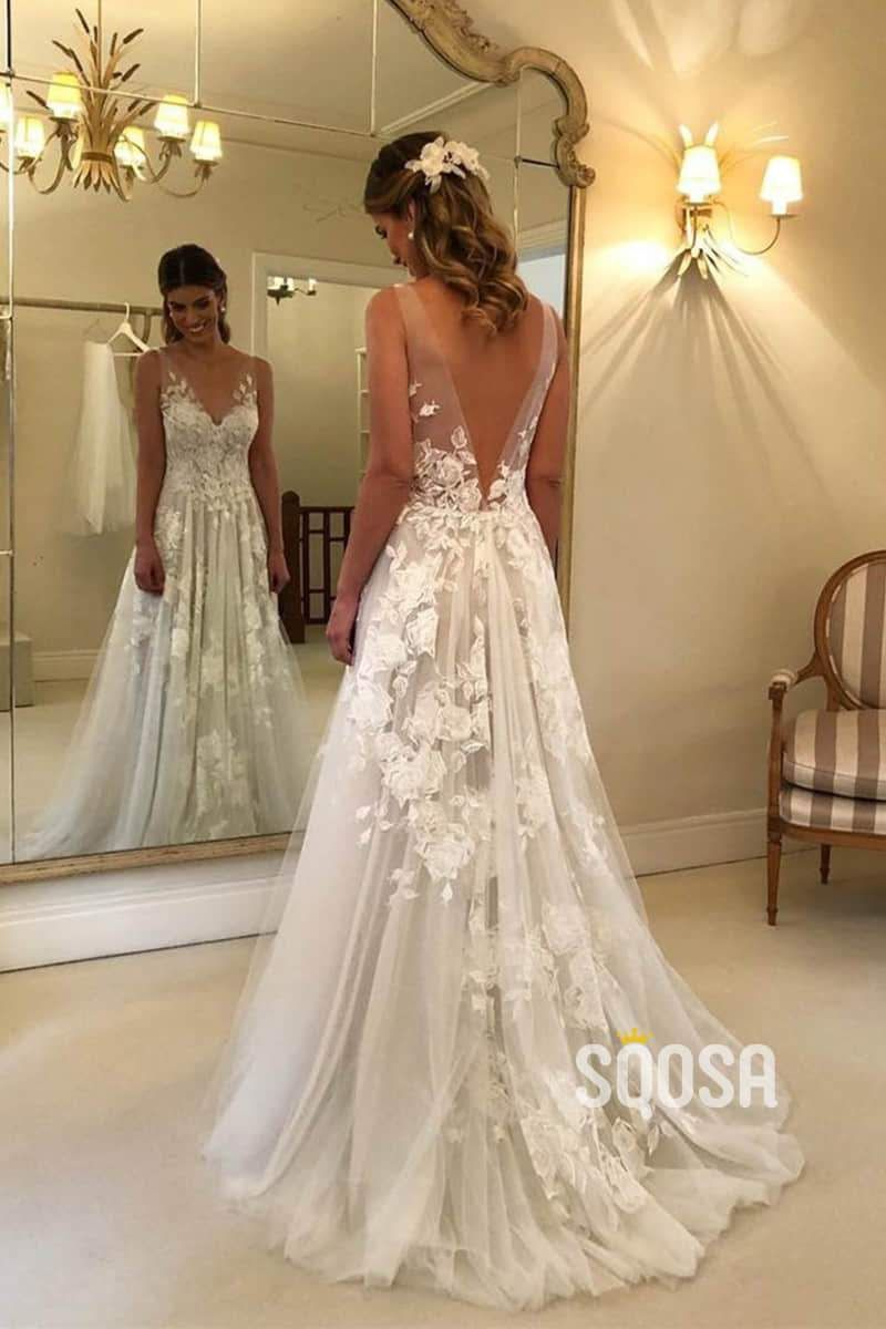 Sweetheart Tulle Lace Appliques A Line Princess Wedding Dress Bride Go Sqosa In 2020 Wedding Dresses Lace Outdoor Wedding Dress Wedding Dresses