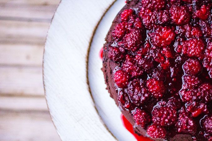 Spicy Dark Chocolate Cake w/Hot Blackberry Syrup and Party Food Tips