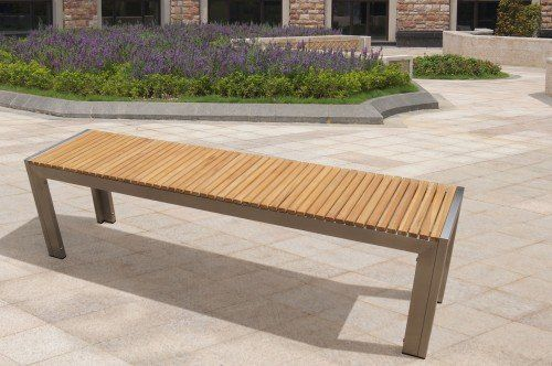 Gartenbank Edelstahl Teak Holz 160x38x45 Cm   Gartenbank Design-Idee ...