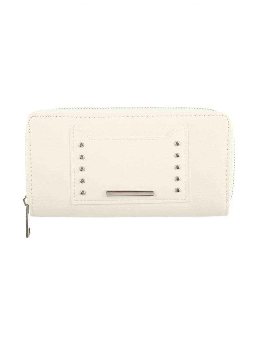 Womens White Studded Zip Purse  f6689f0ea9