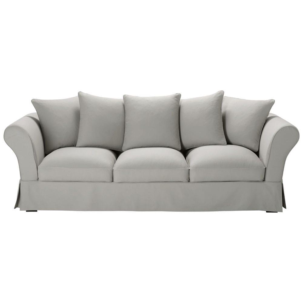 Divano grigio chiaro in cotone 4/5 posti