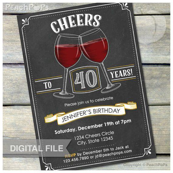 40th Birthday Invitation Cheers Wine Invite By Peachpops