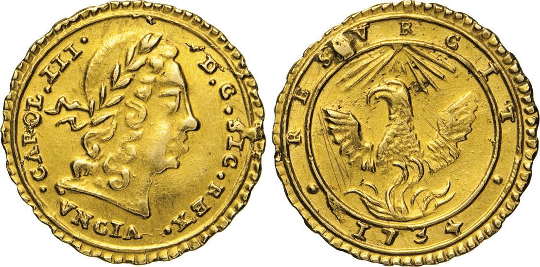 NumisBids: Numismatica Varesi s.a.s. Auction 65, Lot 514 : PALERMO - CARLO III, già VI (1720-1734) Oncia d'oro 1734. Sp. 52...