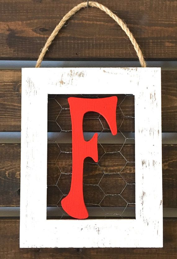 5x7 Chicken Wire Frame Initial Frame Monogram by LetterFlyDesigns