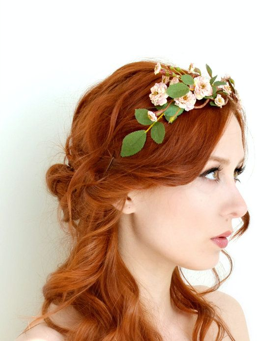 This forest tiara is decorated with tiny leaves and pale pink mauve wild roses...    It can be pinned in place with bobby pins or tied with