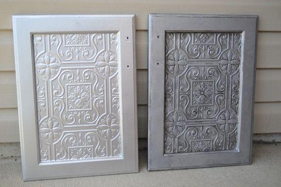 tin tile wallpaper for inserts of cupboard doors... beadboard??
