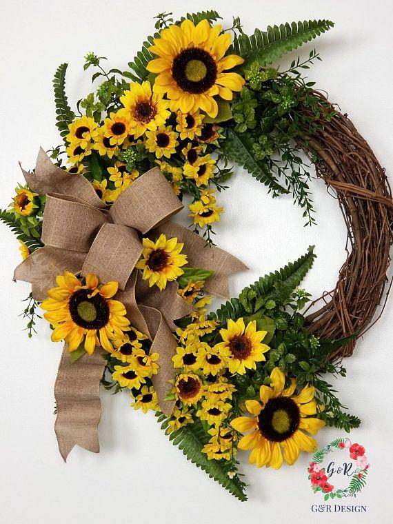Photo of Summer Sunflower Wreath for Front Door, Sunflower Decor, Custom Monogram Door Wreath, Spring Wreath with Initial, Mothers Day Gift