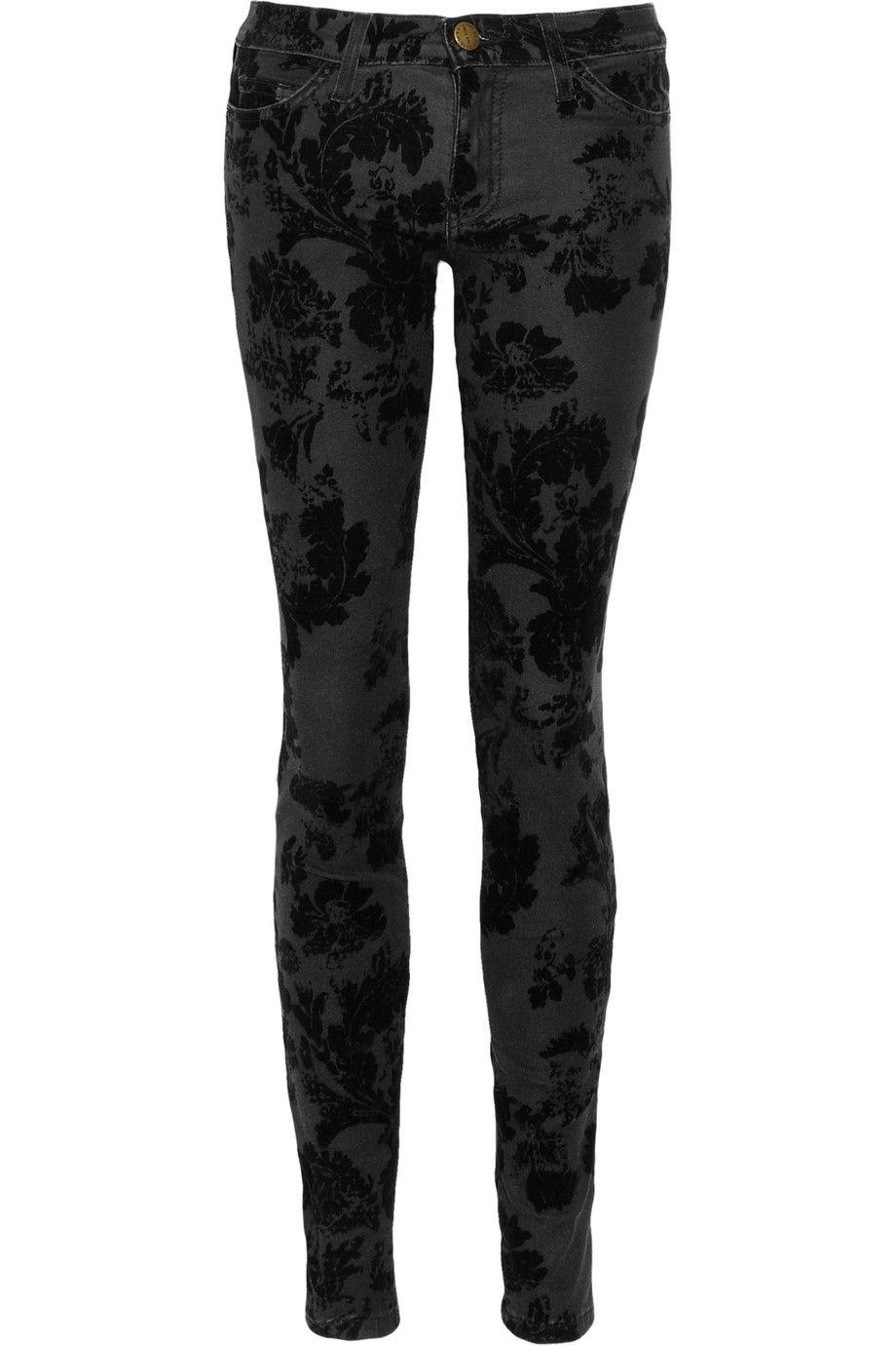 Current/Elliott|The Ankle velvet-flocked skinny jeans |NET-A-PORTER.COM