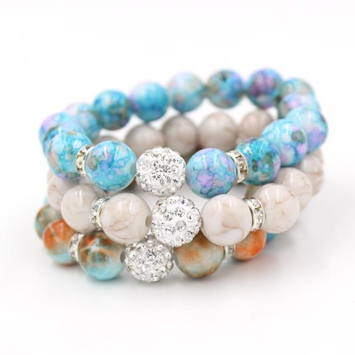 Bead Jewelry, Mix 3 Colors 12mm Shamballa Disco Ball Stretch Bead ...