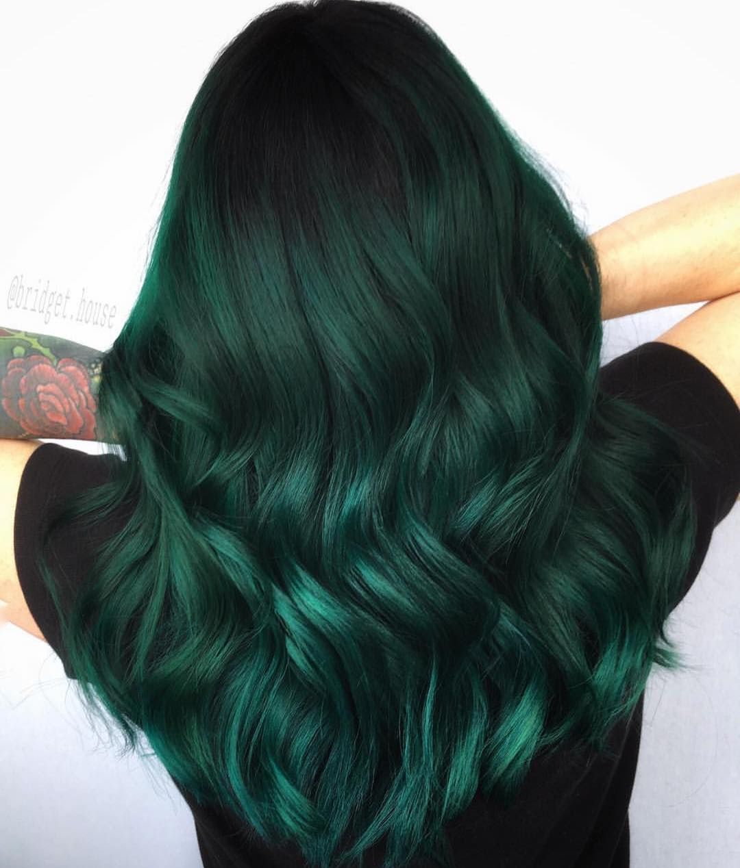Silky Juniper Waves Dark Green Hair Green Hair Colors Green Hair Dye