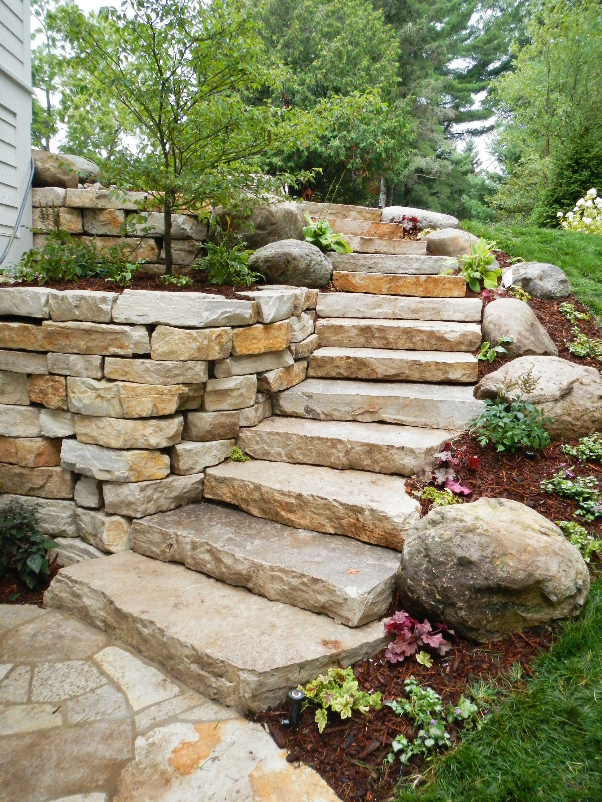 Fondulac Slabstone Backyard Landscaping Backyard Garden | Granite Stone Steps Outdoor
