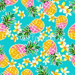 Cute pineapples seamless print