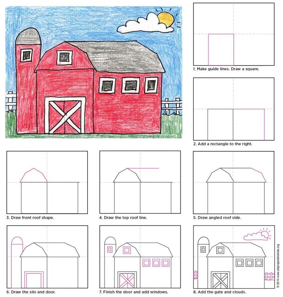 Draw A Barn Kinders 1st Barn Art Classroom Art Projects Barn