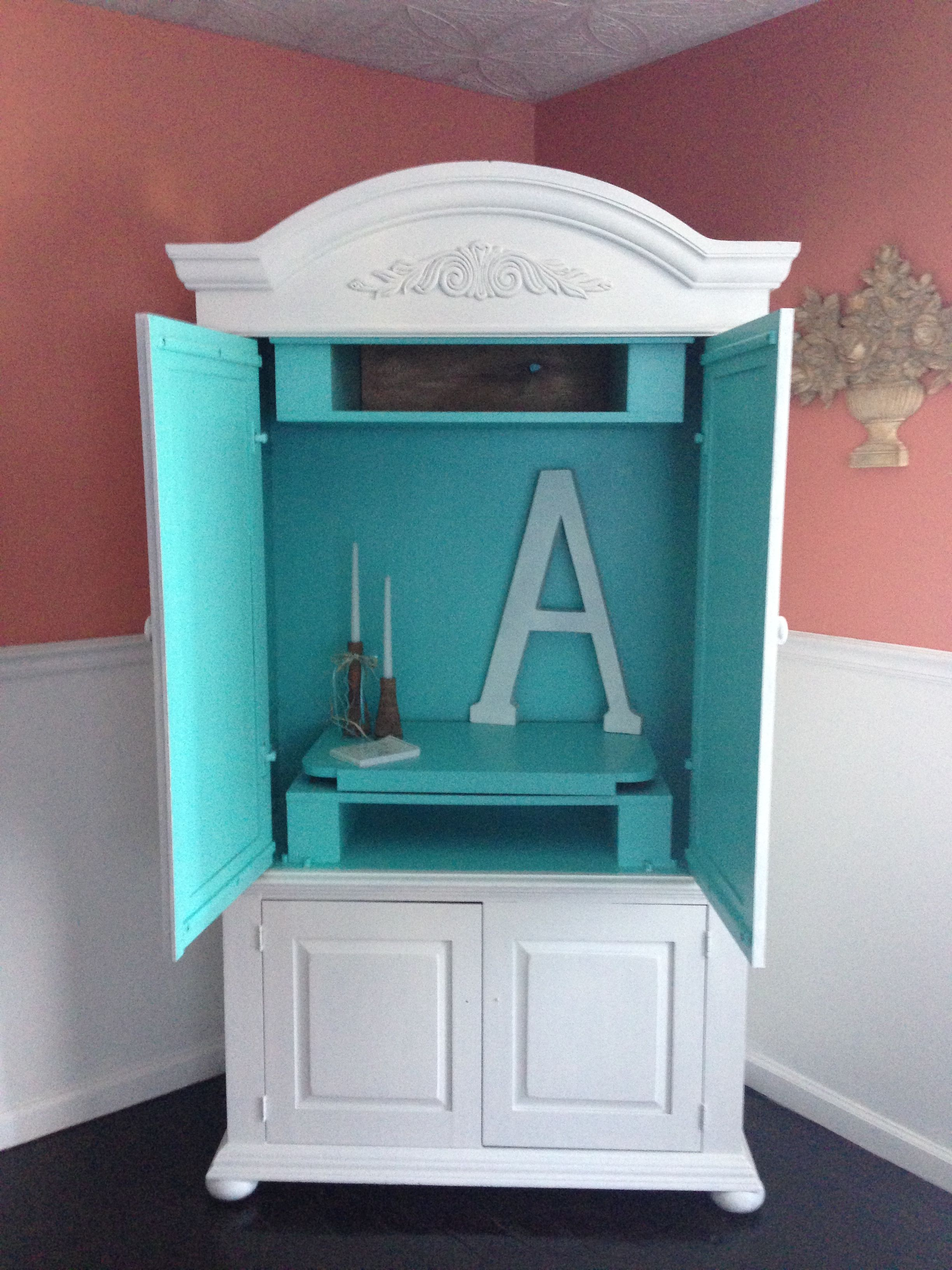 Tiffany Blue Paint On The Inside Of An Armoire