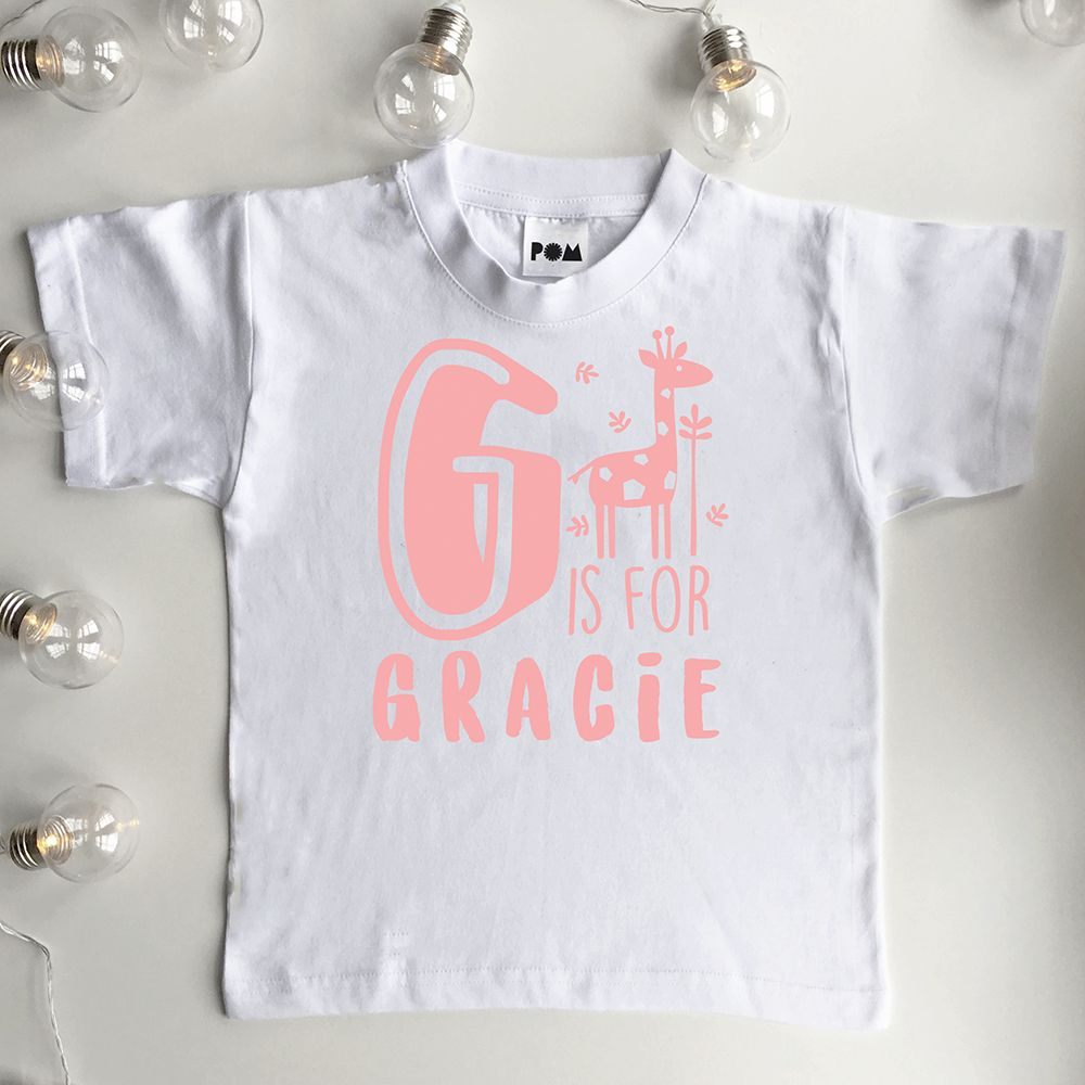 Personalised girls alphabet t shirt perosonalised baby girl and personalised girls alphabet t shirt perosonalised baby girl and kids name t shirt top cute gift negle