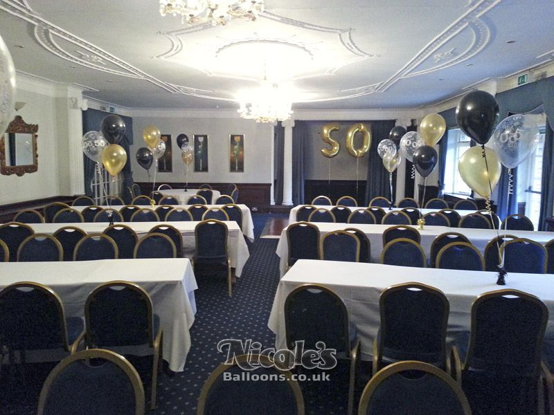 Another Example Of A Room Decorated With Balloons Whereby The Customer Was  Holding A 50th Birthday Party With A Black And Gold Theme.