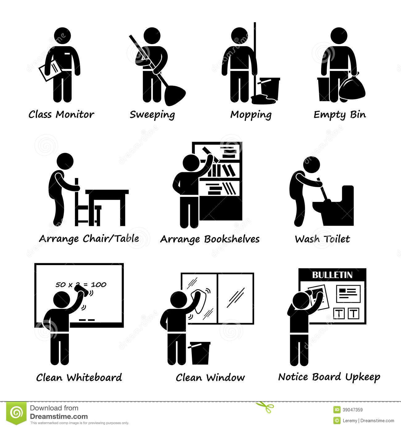 Classroom Student Duty Roster Clipart Stock Vector Image