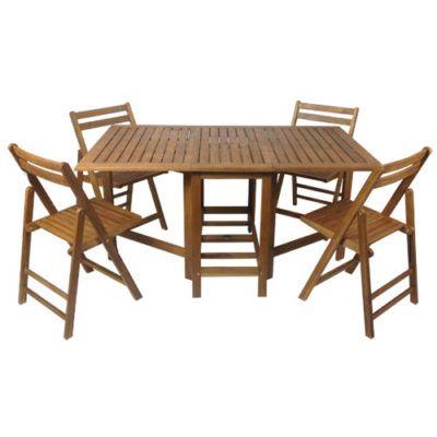 Set di tavolo e 4 sedie in legno di acacia richiudibile e compatto ...