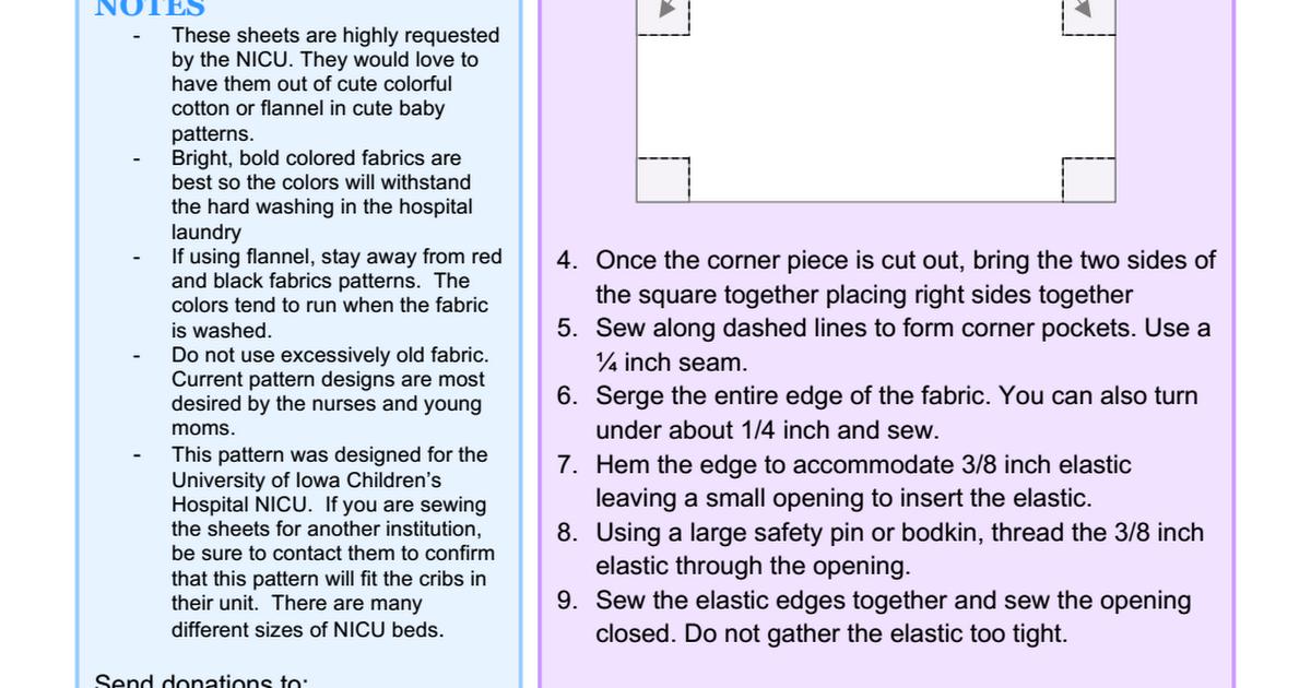 Nicu Crib Sheet121814 Pdf Nicu Baby Projects Baby Patterns