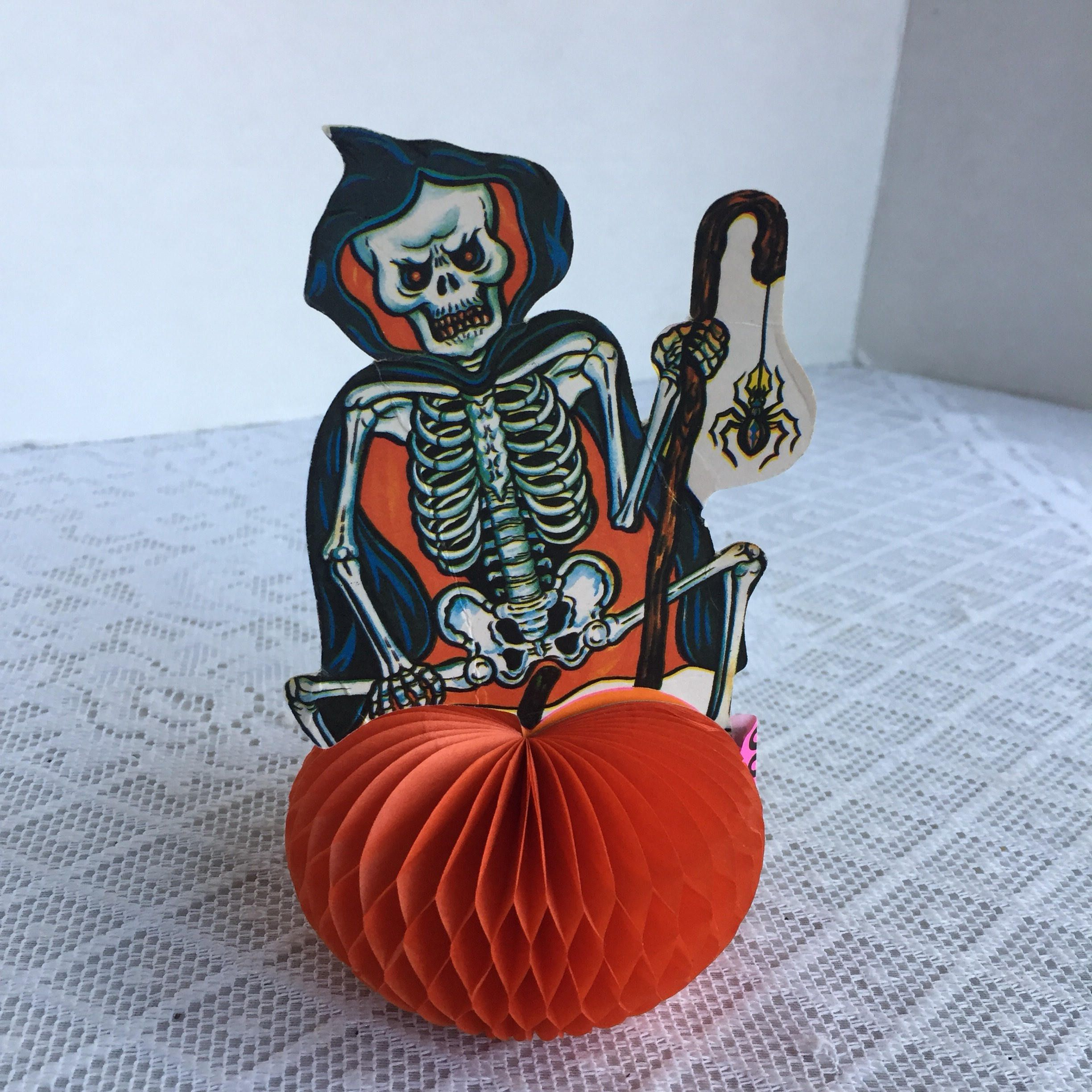 Vintage Halloween Party Decoration / Skeleton and Pumpkin ...