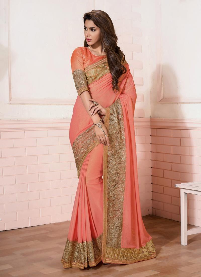 Pleasance peach designer saree designer sarees pinterest saree