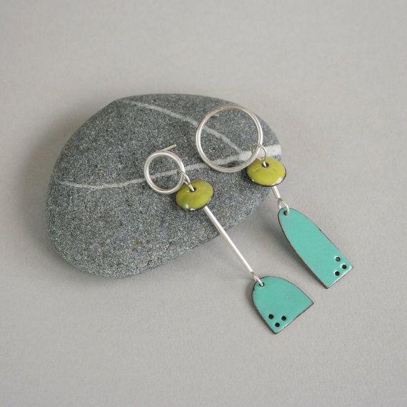 Asymmetrical Enamel Earrings in Lime and Aqua